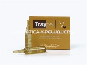 Complejo vitamínico capilar Traybell cabellos débiles y desnutridos V3 estuche de 6 ampollas