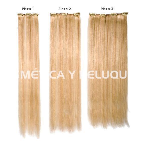 claro y distintivo a pies en estilo moderno Extensiones cabello natural 3 piezas con clip 60 cm